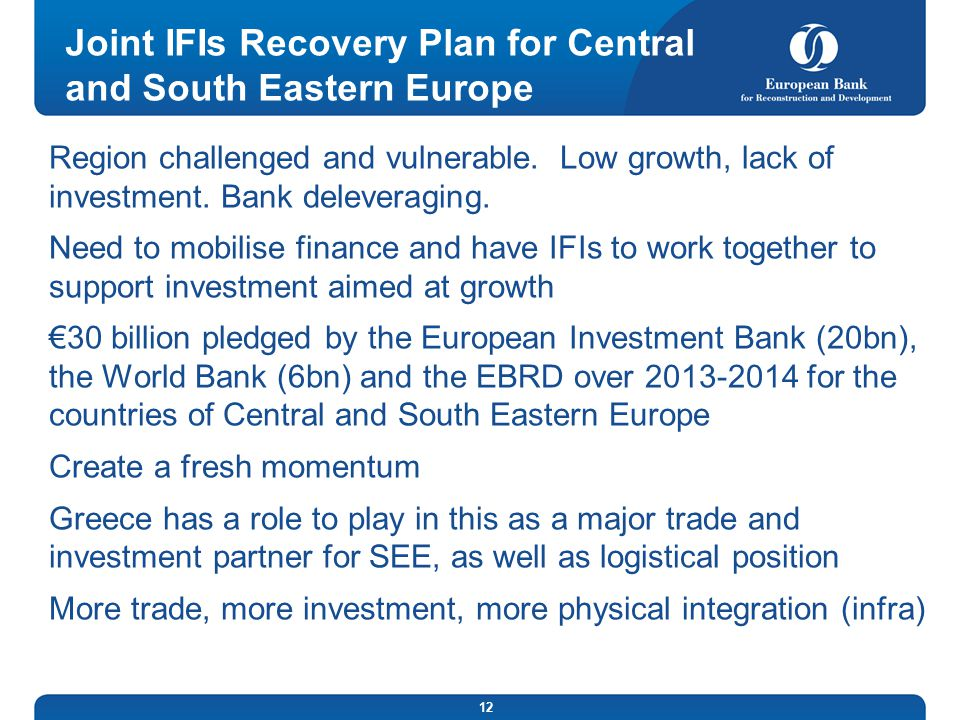 Joint IFIs Recovery Plan for Central and South Eastern Europe
