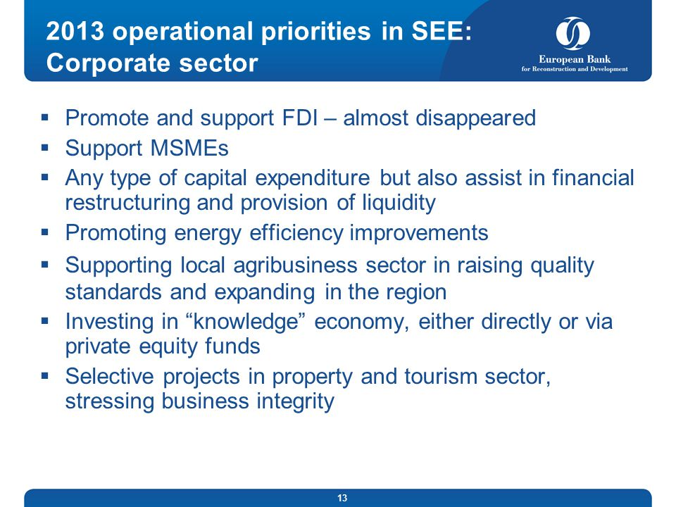2013 operational priorities in SEE: Corporate sector