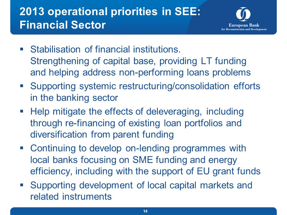 2013 operational priorities in SEE: Financial Sector