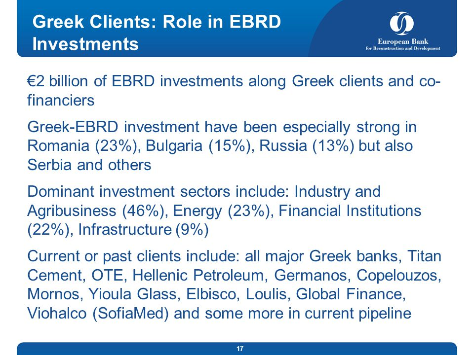 Greek Clients: Role in EBRD Investments