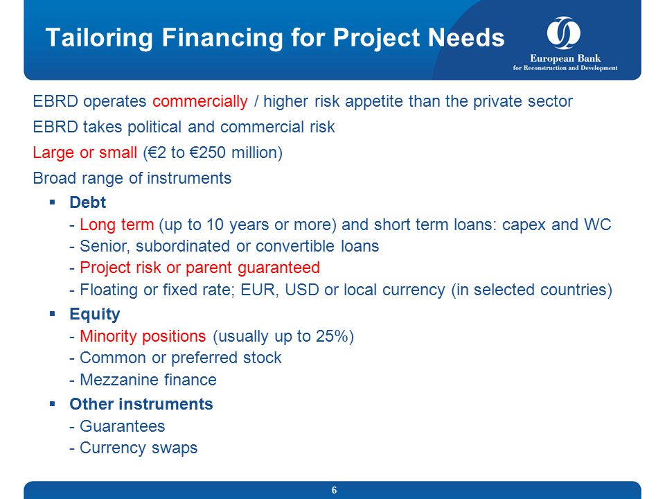 Tailoring Financing for Project Needs