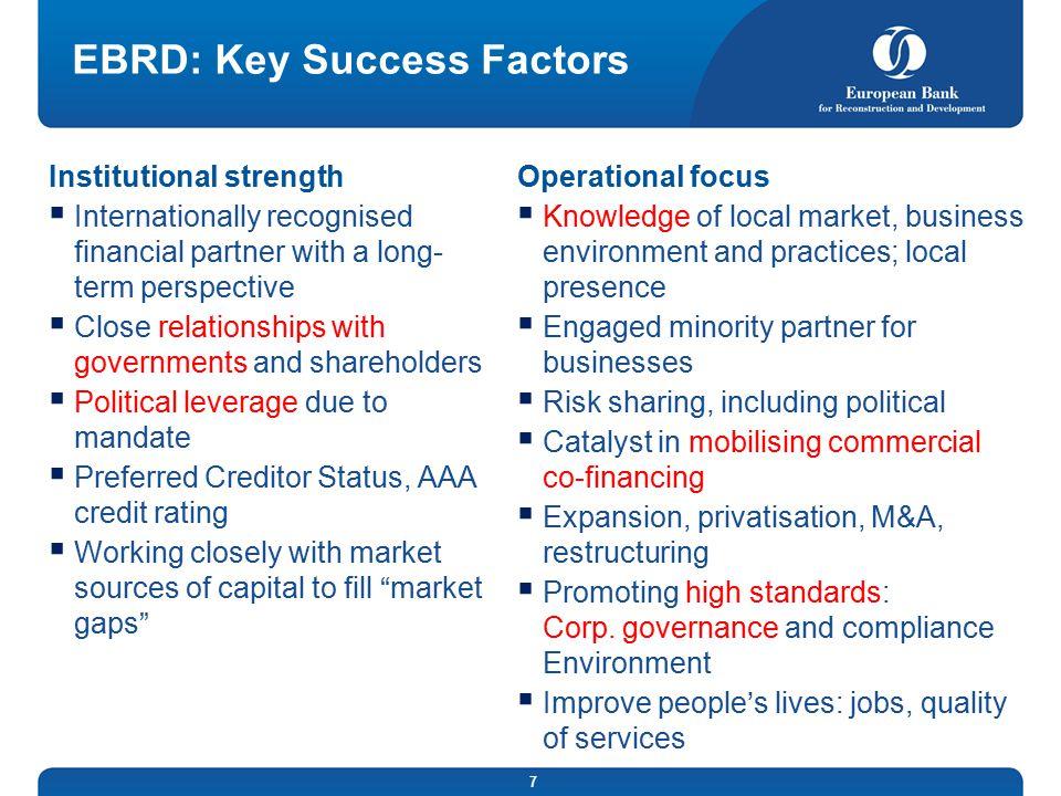 EBRD: Key Success Factors