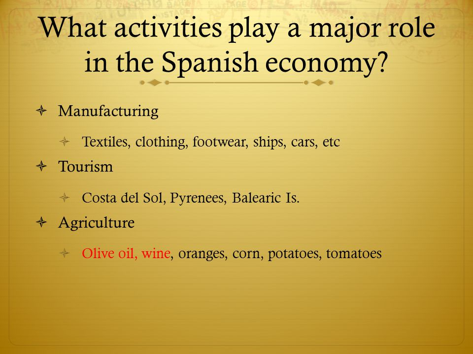 What activities play a major role in the Spanish economy