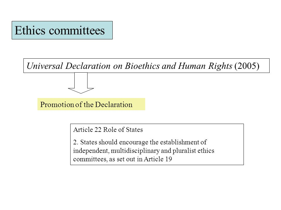 Ethics committees Universal Declaration on Bioethics and Human Rights (2005) Promotion of the Declaration.