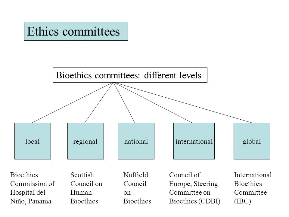 Ethics committees Bioethics committees: different levels local