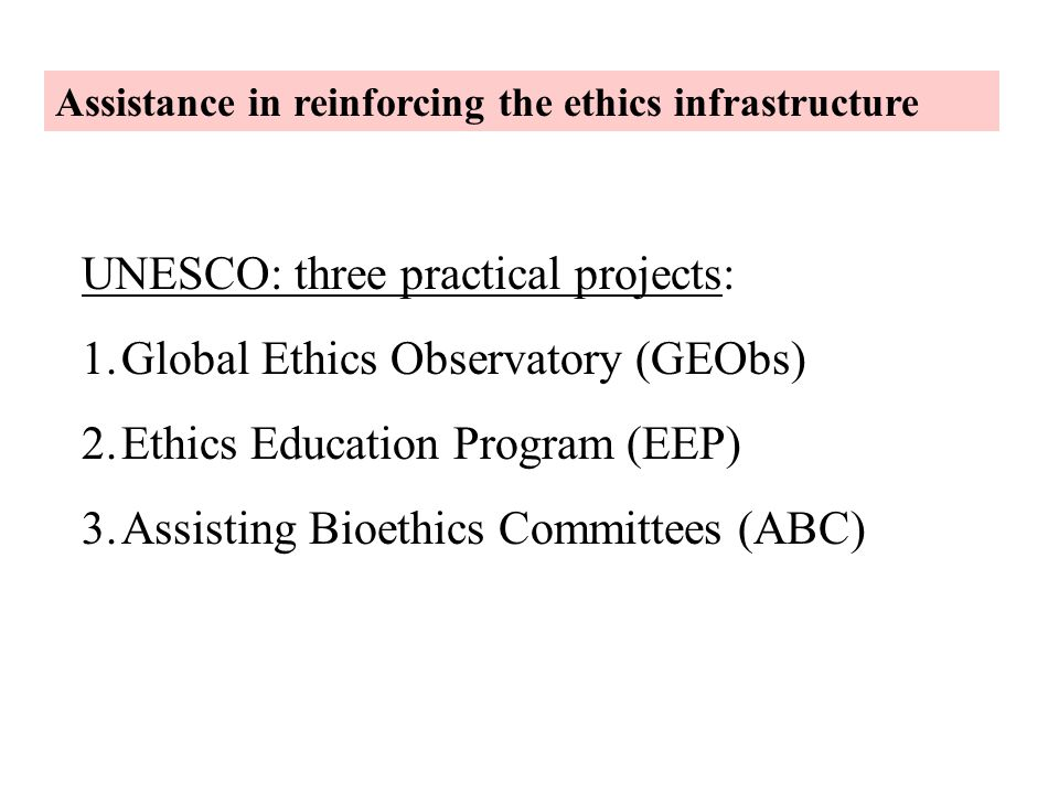UNESCO: three practical projects: Global Ethics Observatory (GEObs)