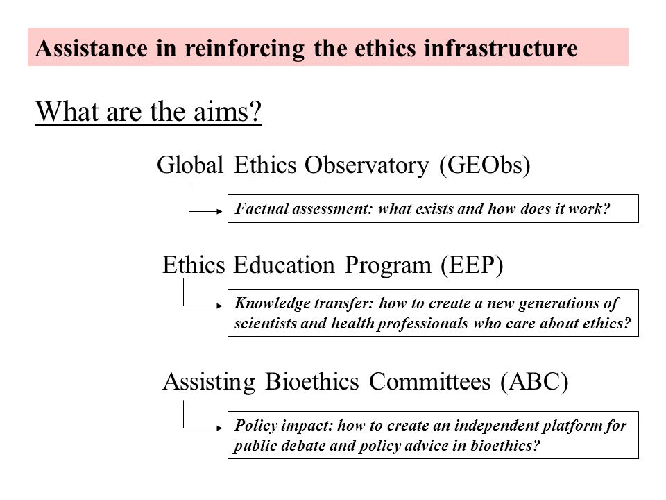 What are the aims Assistance in reinforcing the ethics infrastructure