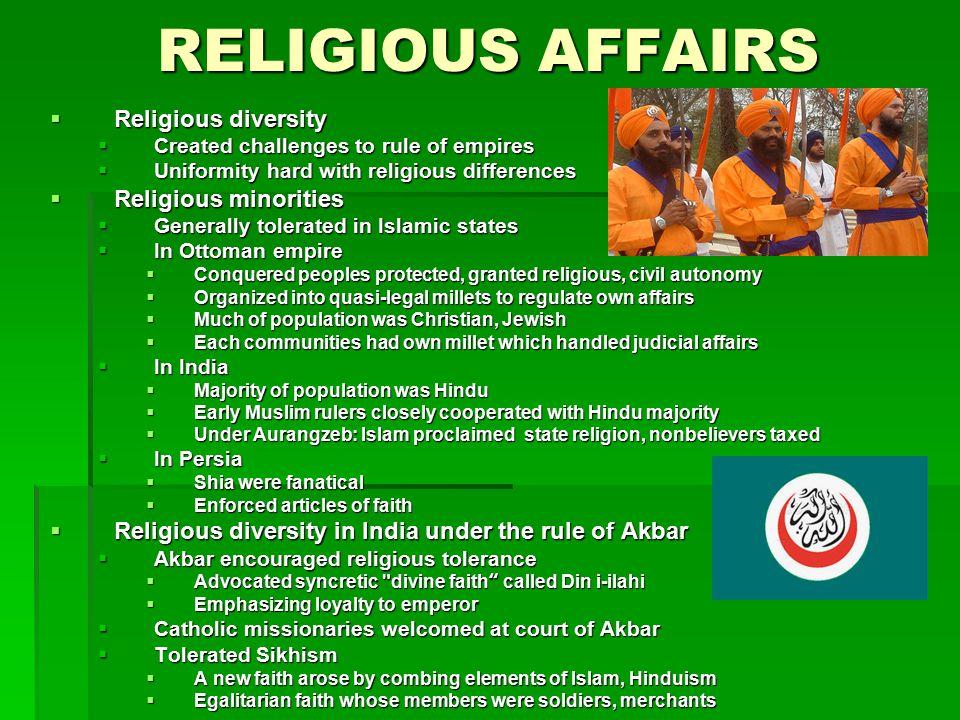 RELIGIOUS AFFAIRS Religious diversity Religious minorities