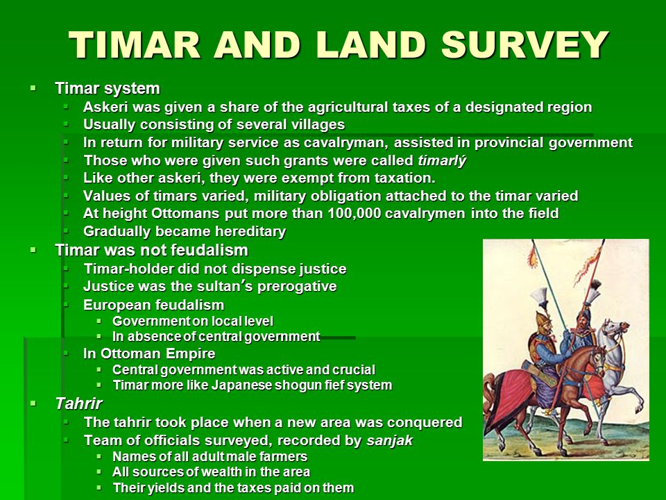 TIMAR AND LAND SURVEY Timar system Timar was not feudalism Tahrir