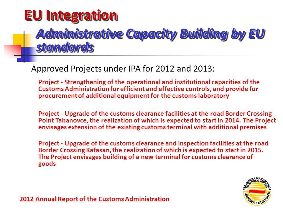 EU Integration Administrative Capacity Building by EU standards