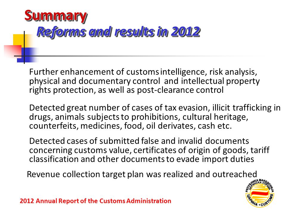 Summary Reforms and results in 2012