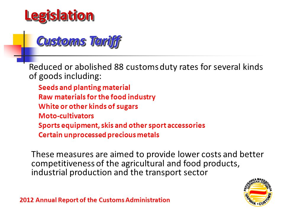 Legislation Customs Tariff