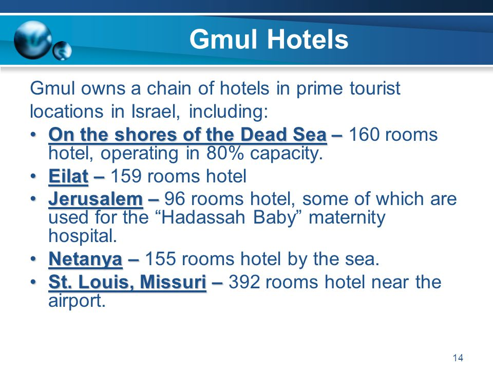 Gmul Hotels Gmul owns a chain of hotels in prime tourist