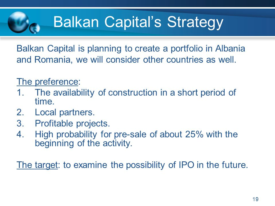 Balkan Capital's Strategy