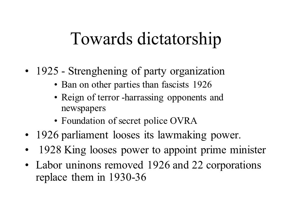 Towards dictatorship 1925 - Strenghening of party organization