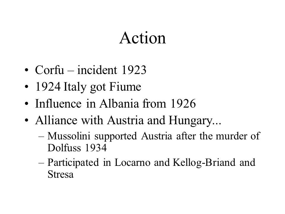 Action Corfu – incident 1923 1924 Italy got Fiume