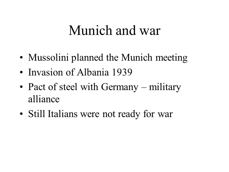 Munich and war Mussolini planned the Munich meeting