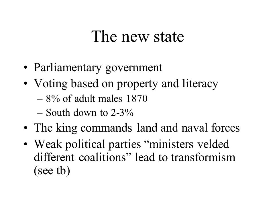 The new state Parliamentary government