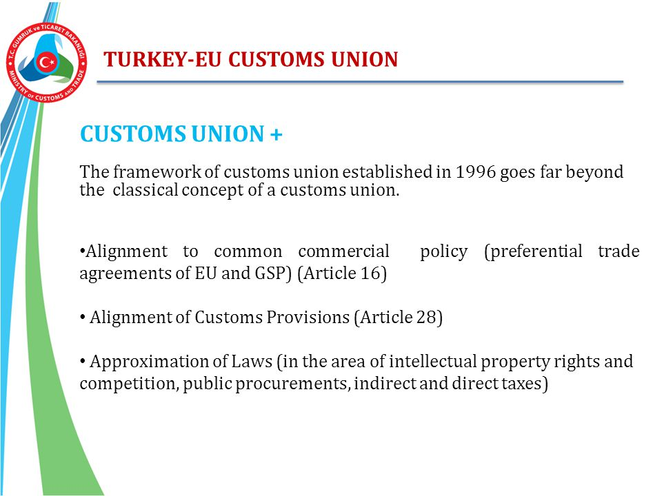 CUSTOMS UNION + TURKEY-EU CUSTOMS UNION