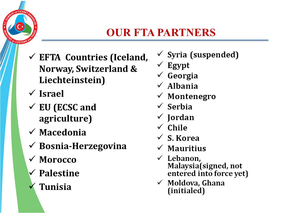 OUR FTA PARTNERS EFTA Countries (Iceland, Norway, Switzerland & Liechteinstein) Israel. EU (ECSC and agriculture)