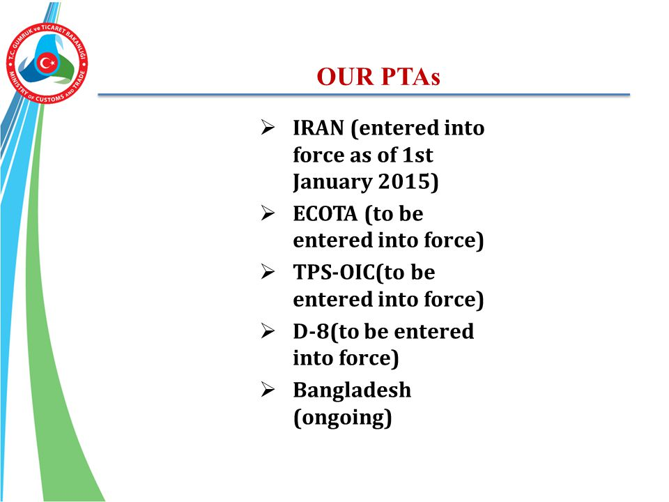 OUR PTAs IRAN (entered into force as of 1st January 2015)