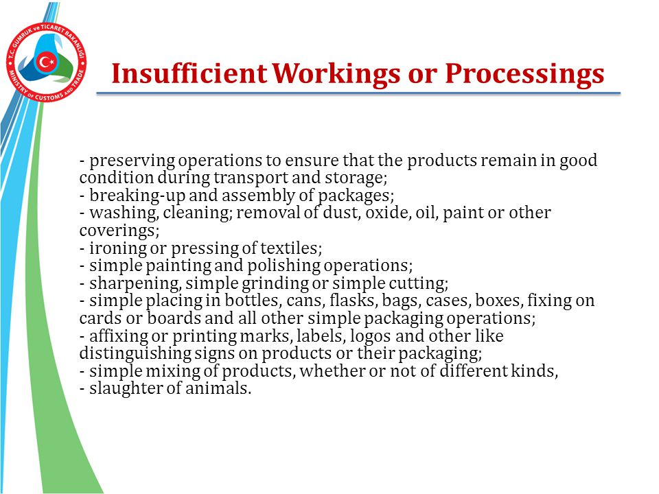 Insufficient Workings or Processings