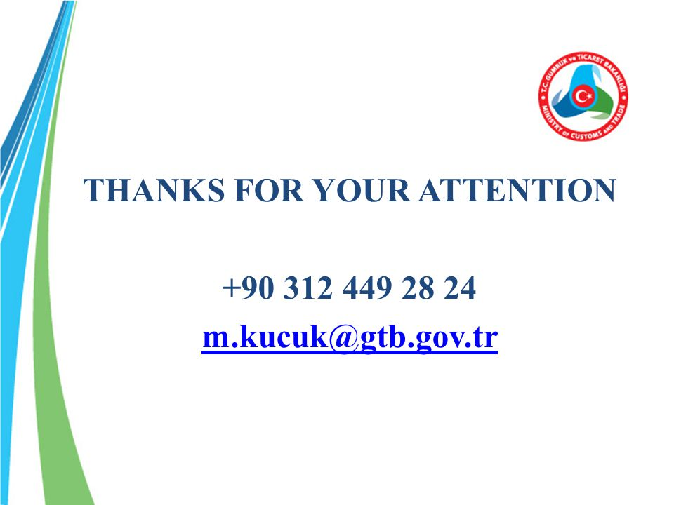 THANKS FOR YOUR ATTENTION +90 312 449 28 24 m.kucuk@gtb.gov.tr
