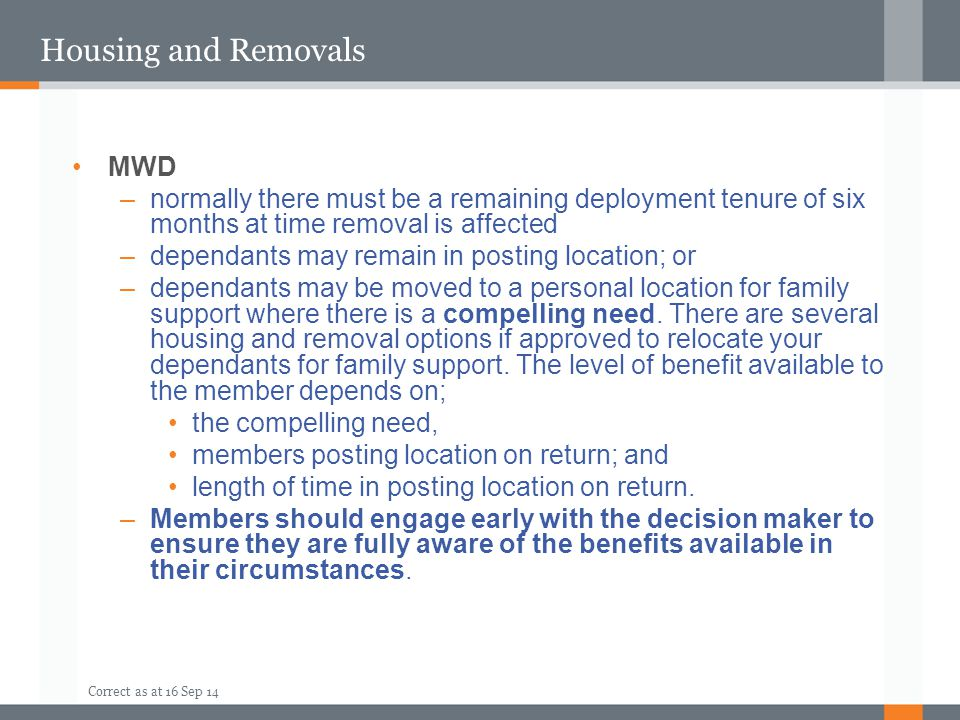Housing and Removals MWD