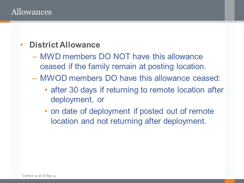 MWOD members DO have this allowance ceased: