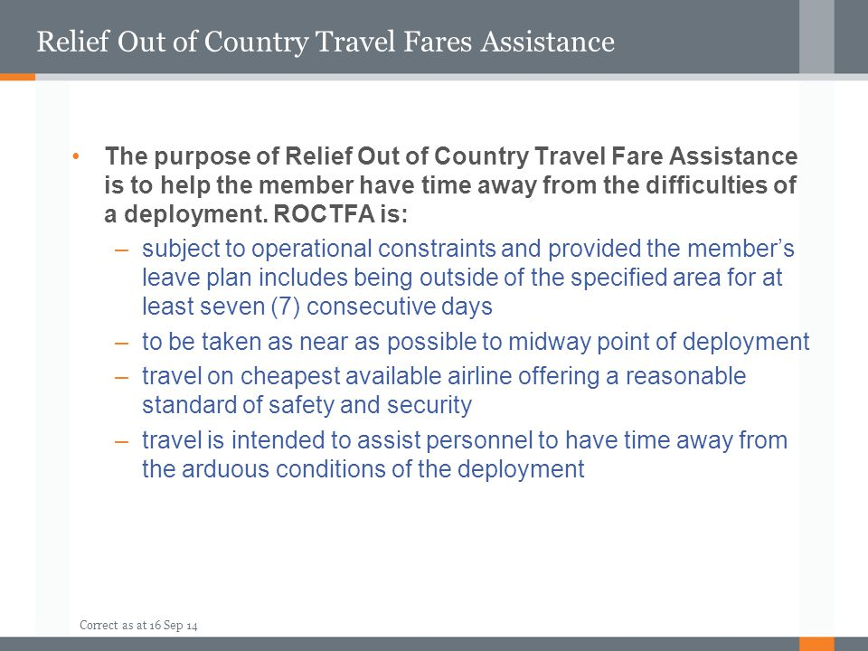 Relief Out of Country Travel Fares Assistance