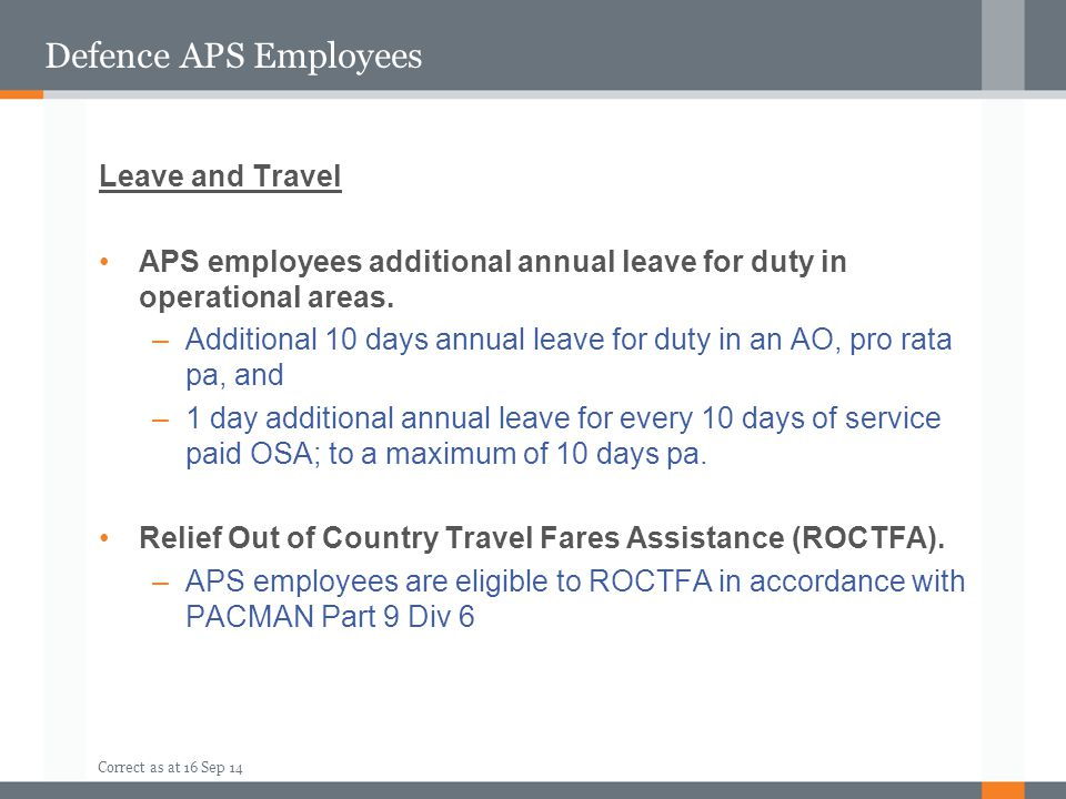 Defence APS Employees Leave and Travel