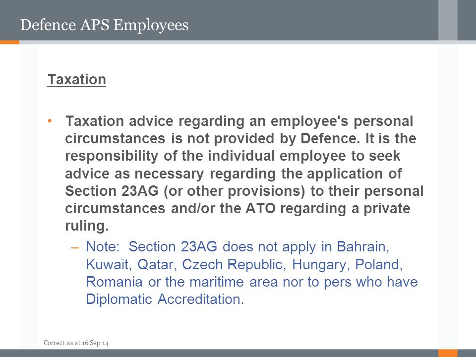 Defence APS Employees Taxation