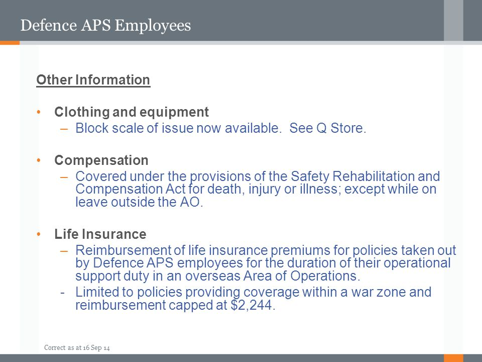 Defence APS Employees Other Information Clothing and equipment