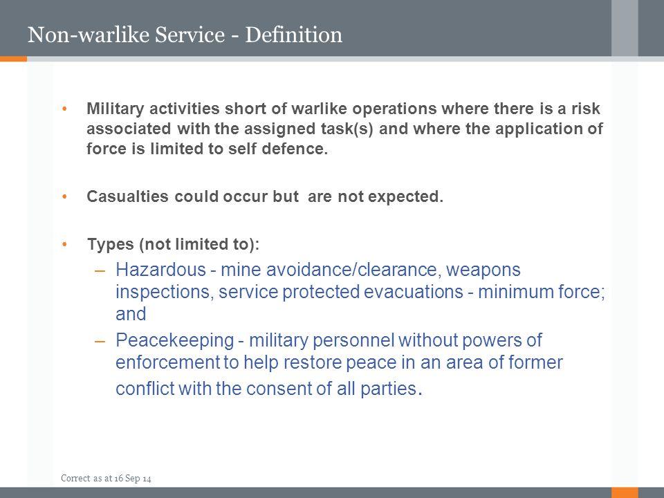 Non-warlike Service - Definition
