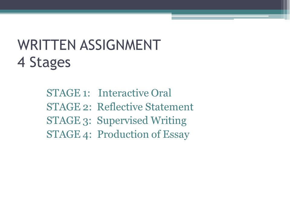 WRITTEN ASSIGNMENT 4 Stages