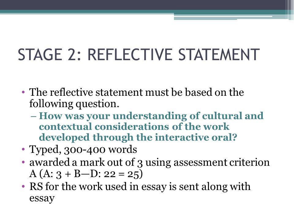 STAGE 2: REFLECTIVE STATEMENT