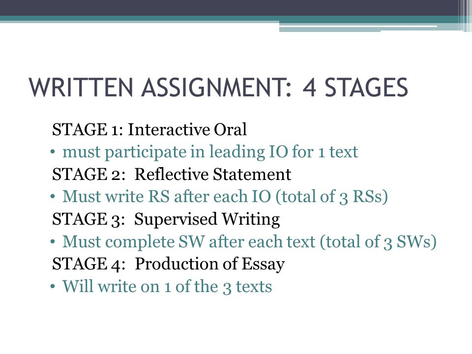 WRITTEN ASSIGNMENT: 4 STAGES