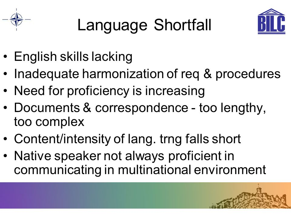 Language Shortfall English skills lacking