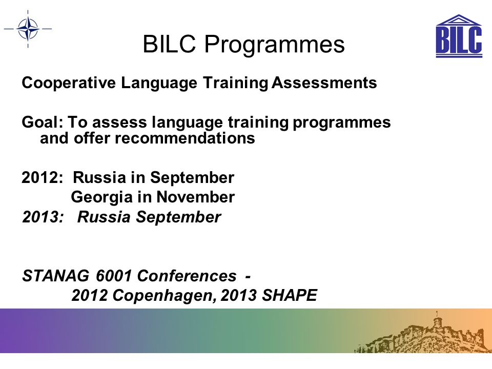 BILC Programmes Cooperative Language Training Assessments