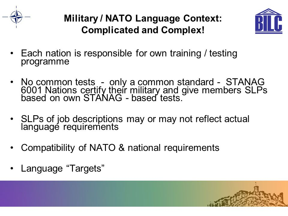 Military / NATO Language Context: Complicated and Complex!