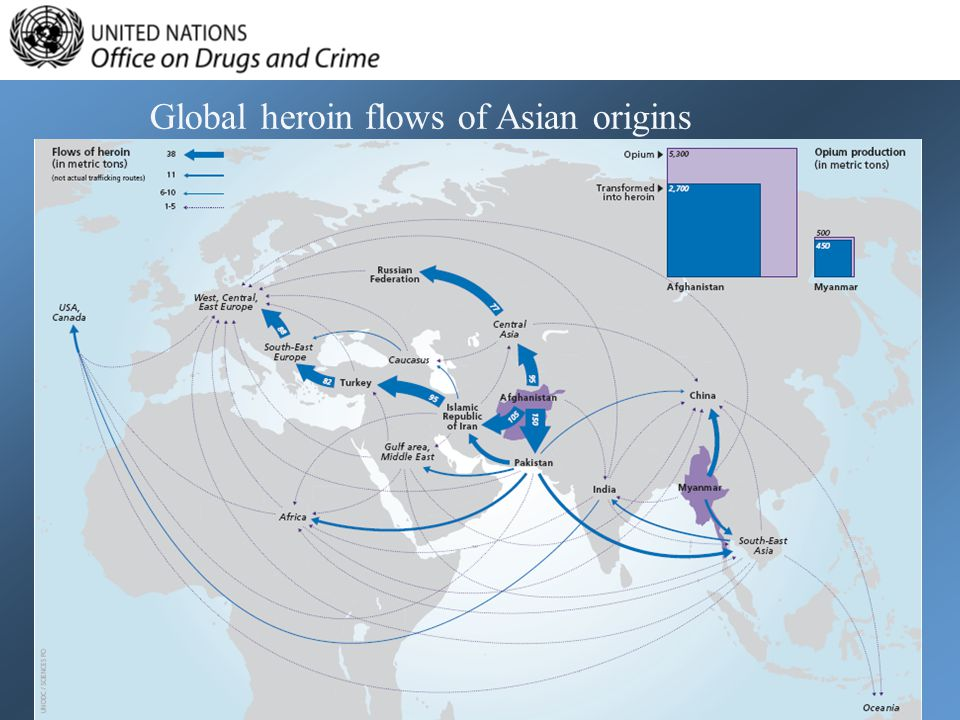 Global heroin flows of Asian origins
