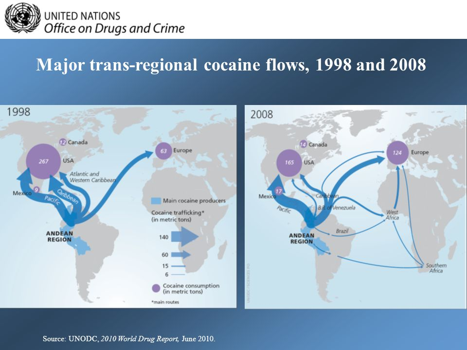 Major trans-regional cocaine flows, 1998 and 2008