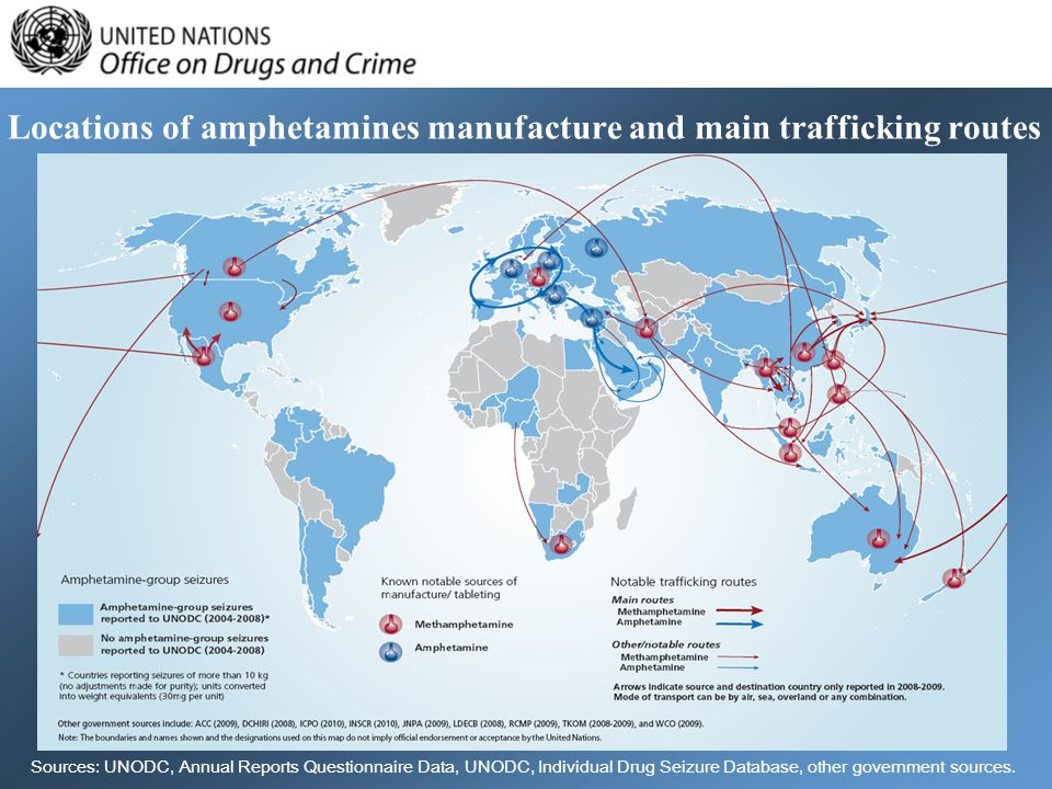 Locations of amphetamines manufacture and main trafficking routes