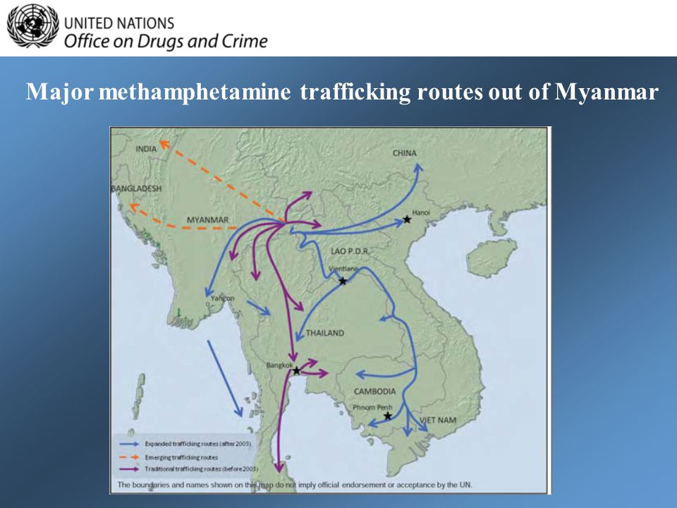 Major methamphetamine trafficking routes out of Myanmar