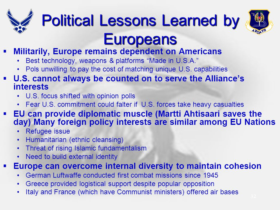 Political Lessons Learned by Europeans