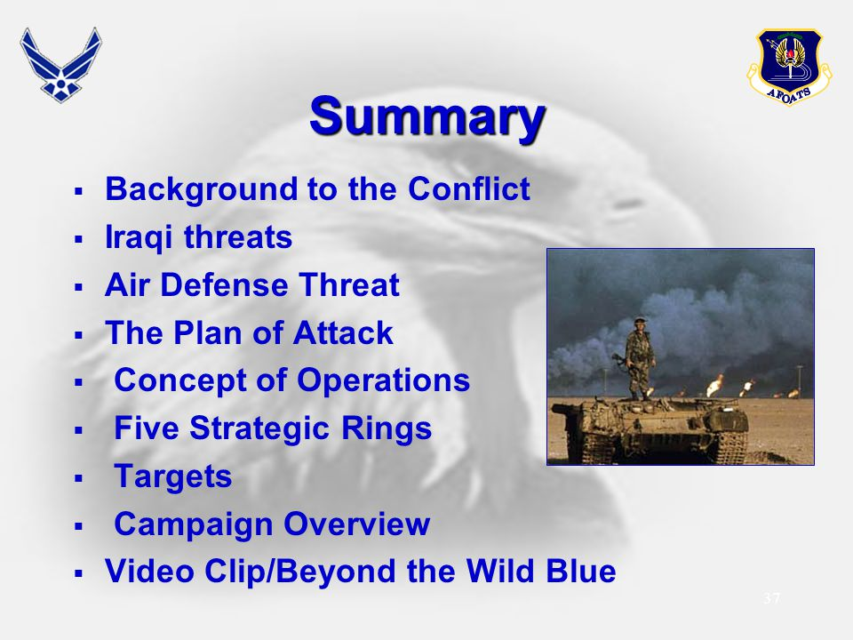 Summary Background to the Conflict Iraqi threats Air Defense Threat