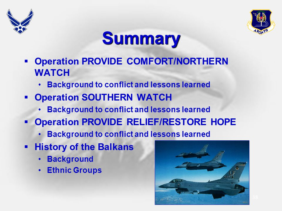 Summary Operation PROVIDE COMFORT/NORTHERN WATCH