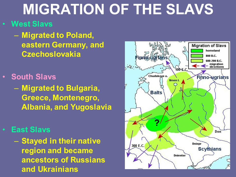MIGRATION OF THE SLAVS West Slavs