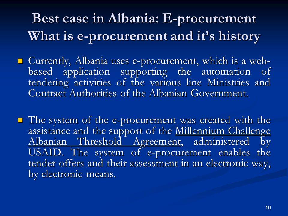 Best case in Albania: E-procurement What is e-procurement and it's history