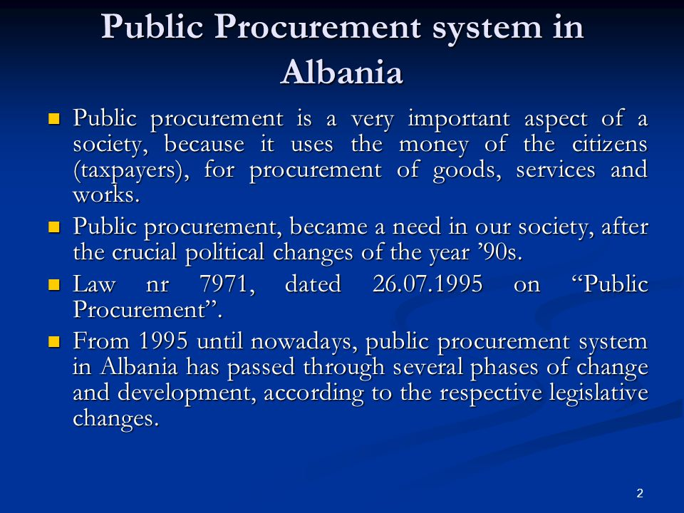 Public Procurement system in Albania